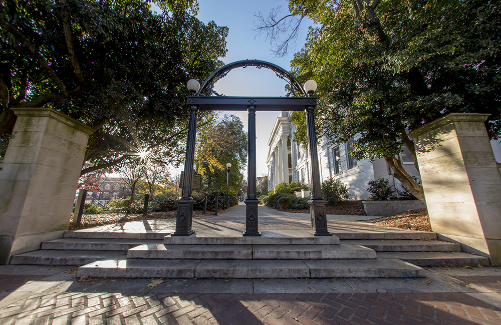 UGA Arch in front of Holmes-Hunter Academic Building