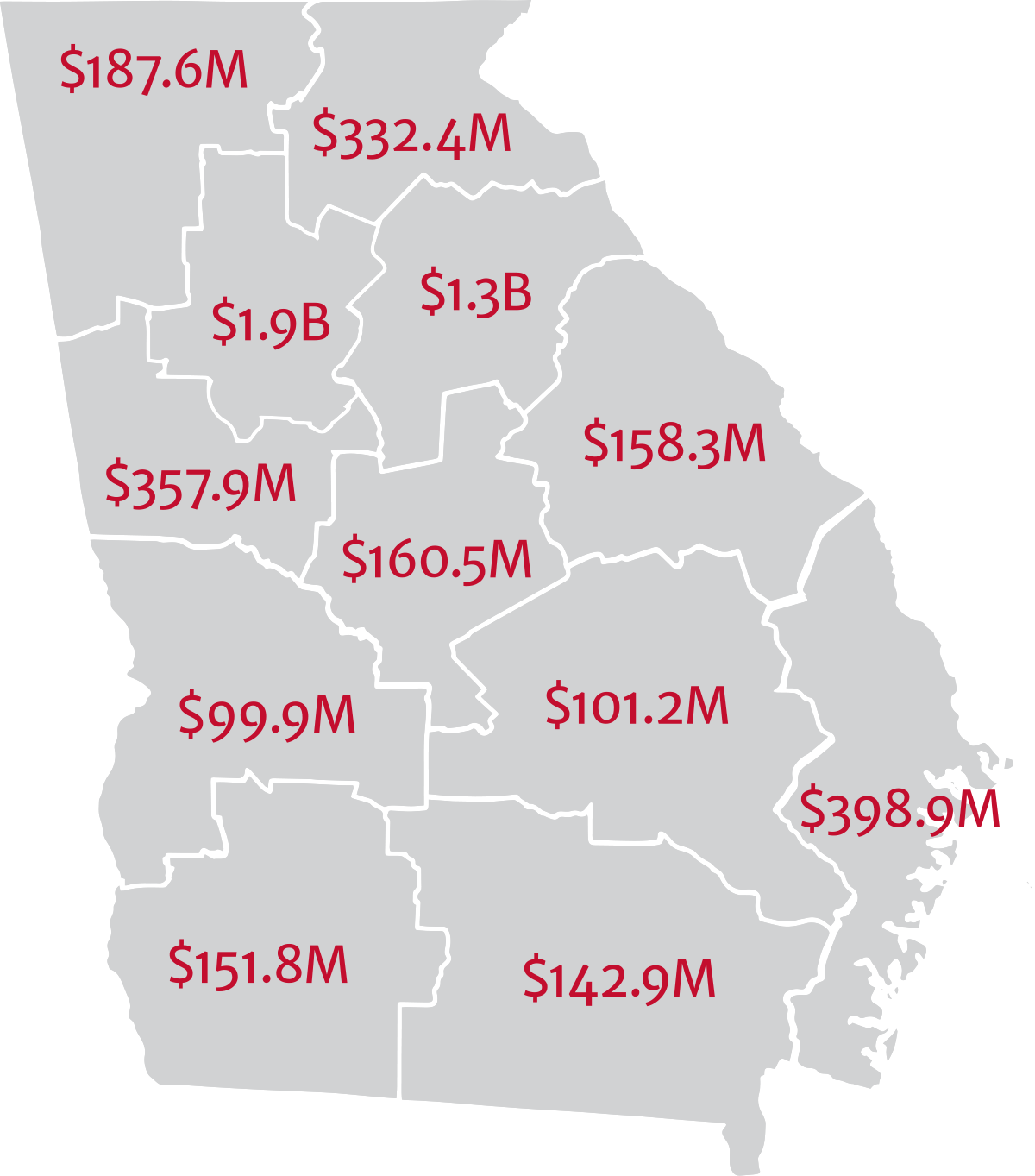 map of Georgia by region